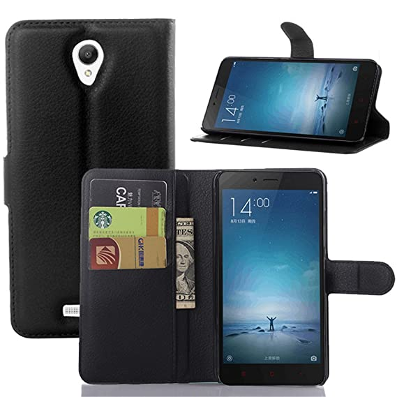 the latest d43f9 f31ff Xiaomi Redmi Note 2 Case, Ultra Slim Stand Flip Wallet Case with Built-in  Card Slots, Vistore Premium PU Leather Wallet Cover Case(Black)