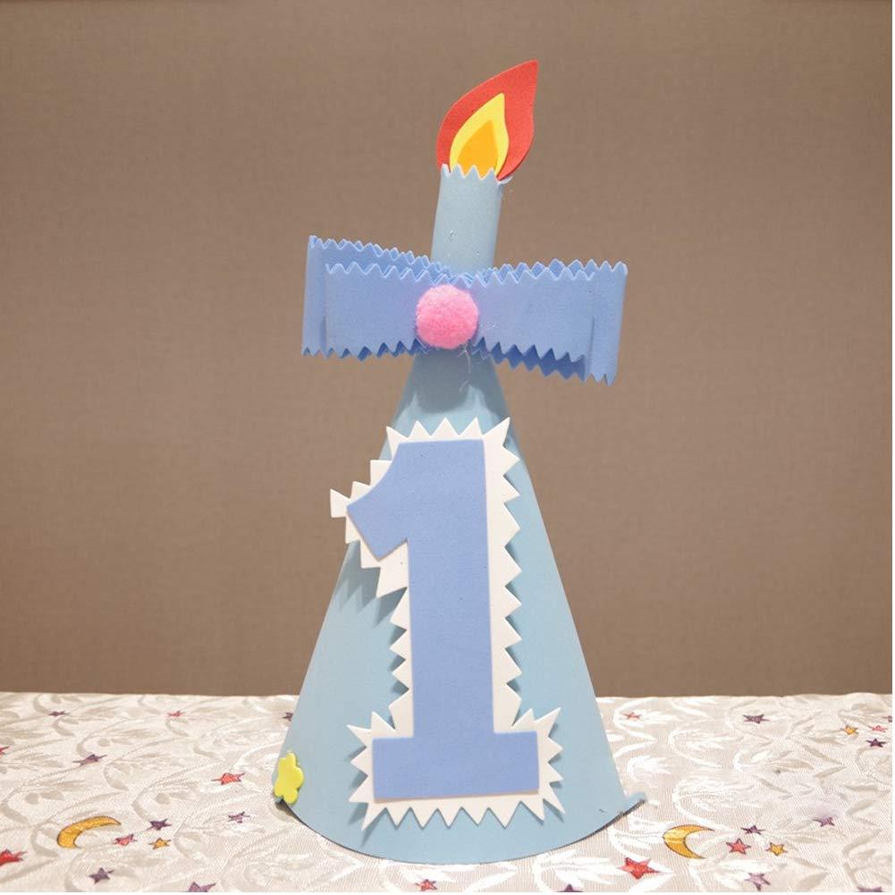 SpringPear/® 2da Fiesta de Cumplea/ños Sombrero Azul con N/úmeros 2 Tocado Chico Decoraci/ón Accesorios para Fotos de Beb/és