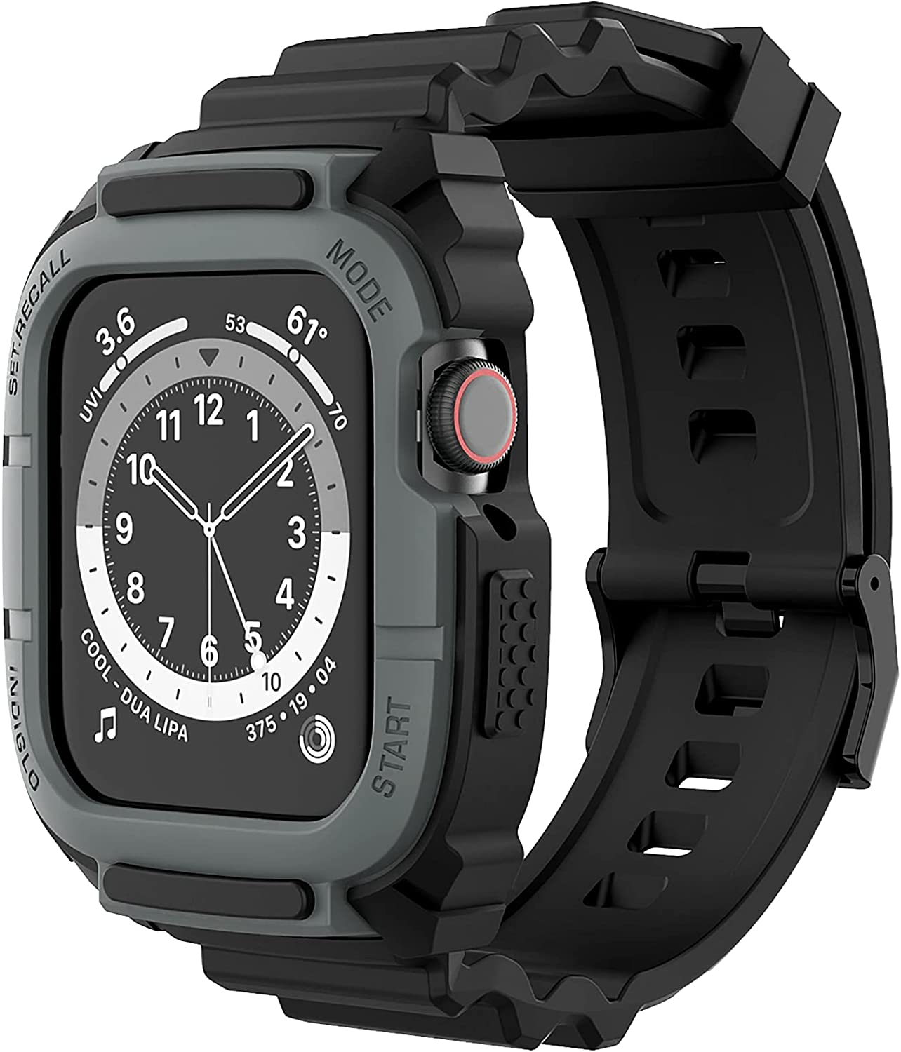 Compatible for Apple Watch Band 44mm 42mm with Bumper Case, Loxoto Rugged Protective Drop Shock Resistant Case with TPU Band Strap Fit for iWatch 6/SE/5/4/3 Men Women Sport Military Style
