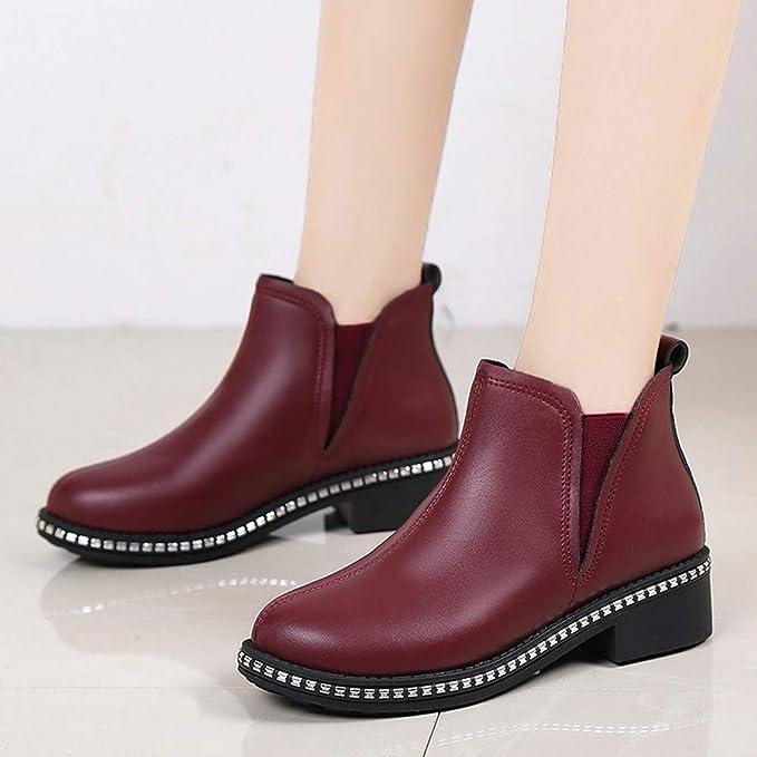 ❤ Botas Cortas de Invierno para Mujer, Zapatos de tacón Cuadrado para Mujer Martain Boot Slip-On de Cuero de Color sólido con Punta Redonda Zapatos ...