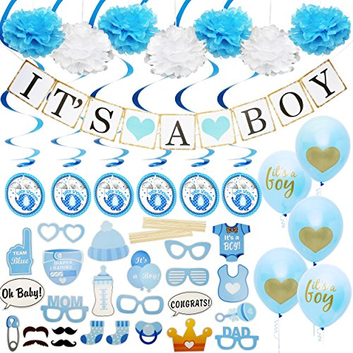 Baby Shower Decorations for Boy - Includes matching 'Its A Boy' Banner & Balloons, Cute Photo Booth Props, Blue & White Flower Decor, AND MORE! Perfect All In One Decoration - Perfect One Photo