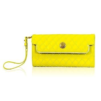 Valentino Orlandi Monedero de cuero de embrague de cuero acolchado amarillo diseñador italiano: Amazon.es: Equipaje