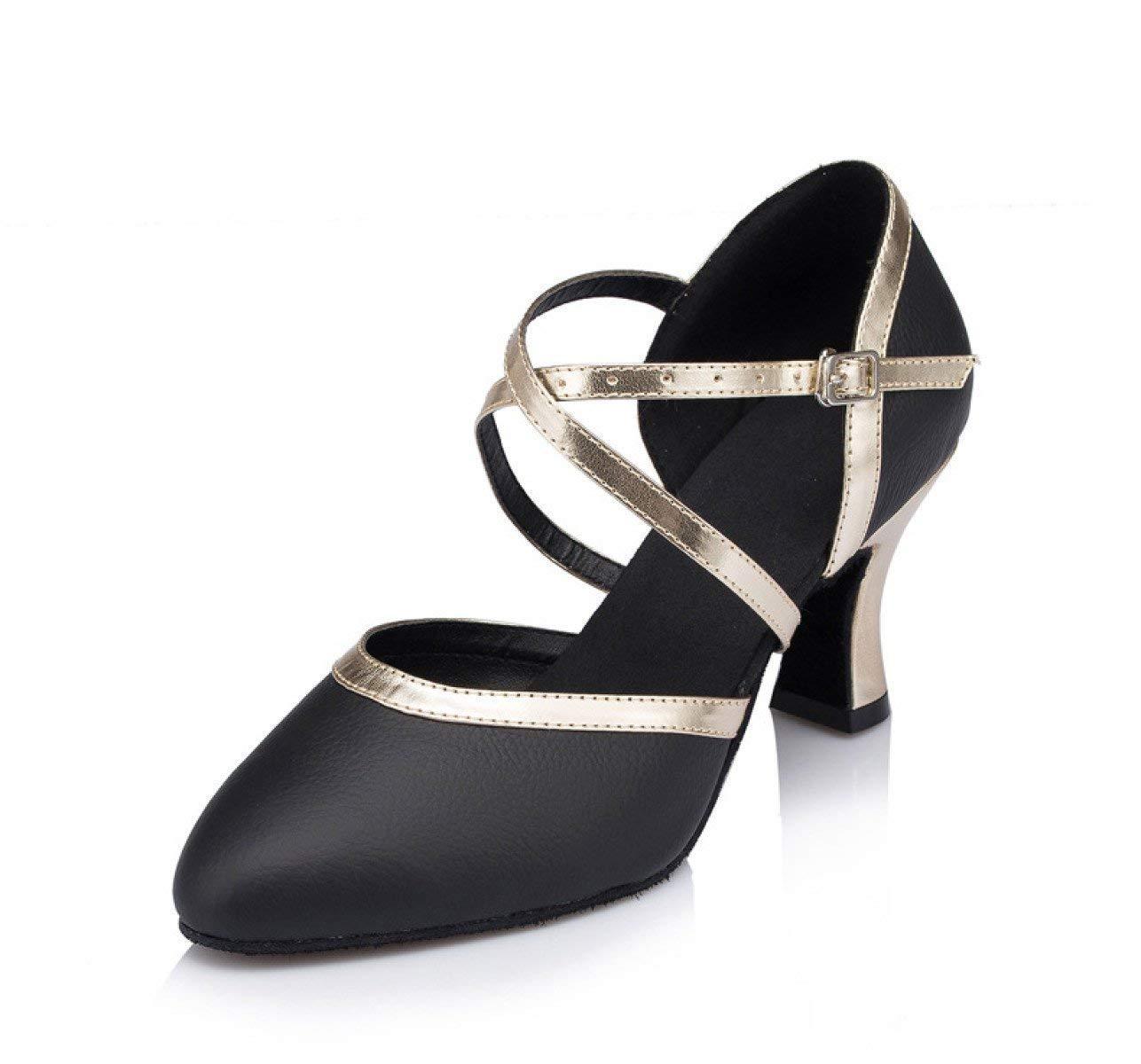 Damen Latin Dance Closed Toe High Heel UP Leder Glitter Salsa Tango Moderne Ballrom Mary Jance Tanzschuhe WeißHeeled6cm-UK5.5   EU38   Our39 (Farbe   schwarzheeled7cm Größe   UK5 EU37 Our38)