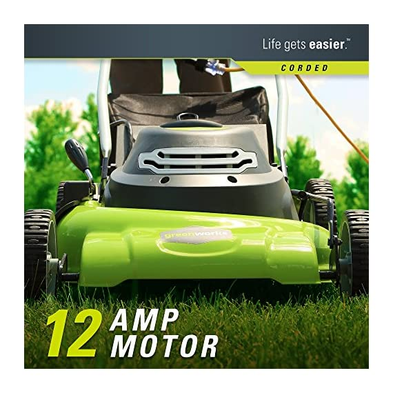 Greenworks g-max 40v 20-inch cordless 3-in-1 lawn mower with smart cut technology, (1) 4ah battery and charger included mo40l410 5 includes (1) max capacity 4 ah - 40v lithium battery , cutting heights - 5 position durable 20'' steel deck lets you mulch, bag, or side discharge allowing you to maintain your yard the way you want it. This lawn mower is not self-propelled innovative smart cut technology automatically increases the speed of the blade when more power is needed