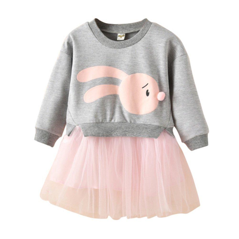 Miyanuby Vestito da Bambina Abbigliamento Neonata Cartoon modello girocollo tulle Tutu gonna One Piece Abiti Principessa vestiti 2-7 anni