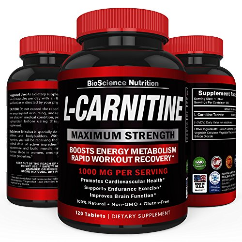 L-Carnitine 1000mg 120 Capsules - Tartrate Carnitine Amino Acid - BioScience Nutrition USA