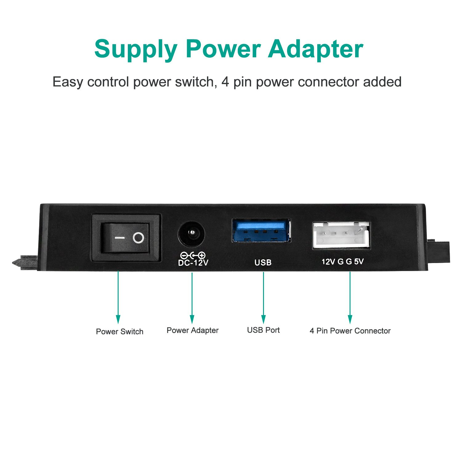 AGPtEK USB 3.0 to IDE/SATA Converter Adapter with Power Switch for 2.5''/3.5''SATA/IDE/SSD Hard Drive Disks, Support4TB, Include 12V 2APower Adapter & USB 3.0 Cable by AGPTEK (Image #4)