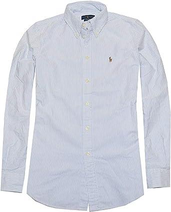 Ralph Lauren Women Classic Fit Striped Oxford Shirt (Medium, Powder Blue/White)