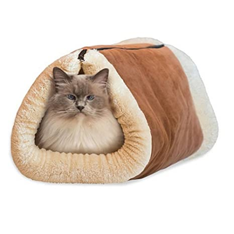 Katech Multifunción Gatos Túnel Cueva y Cama Invierno Cálido Pequeño Perro Dormir Mat Mantas de Conejo