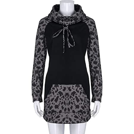 Amazon.com: FimKaul Women Hoodie Sweatshirt Long Sleeve Spliced Leopard Casual Pullover Tops with Pockets: Sports & Outdoors
