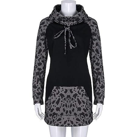 Amazon.com: FimKaul Women Hoodie Sweatshirt Long Sleeve Spliced Leopard Casual Pullover Tops with Pockets: Sports & Outdoors