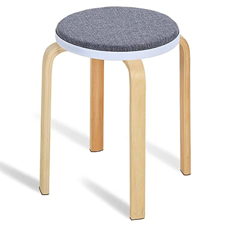 JL Comfurni Sturdy Stool Chair,Wooden Small Round Table Stools With Padded  Soft Cushion (