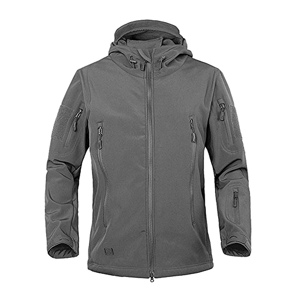 TACVASEN Men's Military Softshell Tactical Jacket Hooded Fleece Coat TJ1