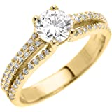 10k Yellow Gold Dainty Micro Pave Modern Solitaire Engagement Ring