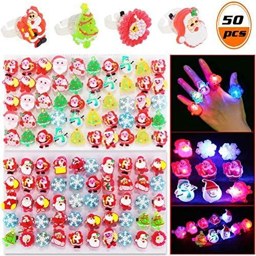 Badasa 50PCS LEDフィンガーライトは、子供と大人のための暗いリングLEDパーティーの好意で輝くおもちゃを点灯