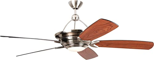 Craftmade VS60BNK5-LED Vesta 60 Ceiling Fan with LED Light and Remote, 5 Blades, Brushed Polished Nickel
