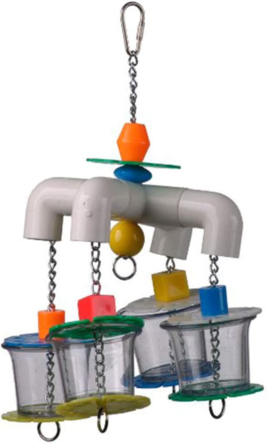 """Super Bird Creations SB634 Foraging 4 Way Forager Bird Toy With Clear Acrylic Cups, Medium to Large Size, 12"""" x 7"""" x 7"""""""