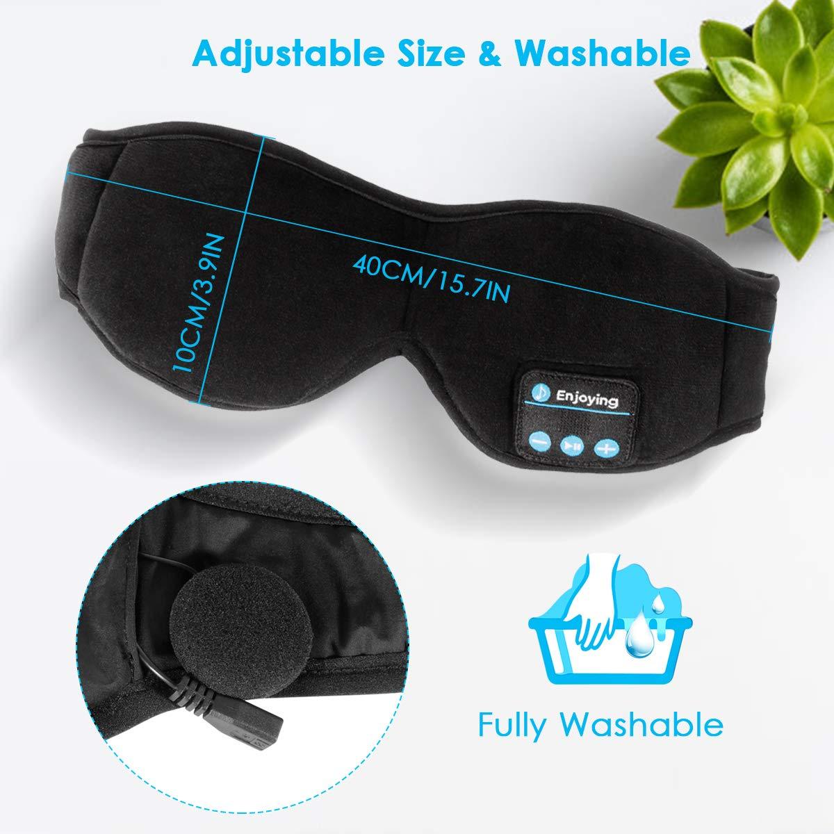 WU-MINGLU Upgraded Bluetooth Eye Mask Sleep Headphones, Wireless Music Silk Eye Cover Sleeping Mask Headphones Built -in Speakers Microphone Handsfree Adjustable and Washable