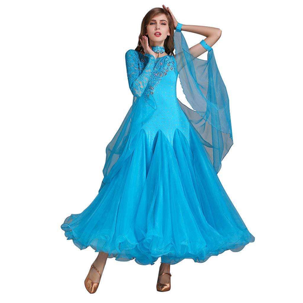 Lake bleu petit RJ Robes Jupe Moderne de Couture de Couture de Dentelle Adulte de Madame Printemps Eté, Robe de Danse Nationale Standard (Couleur   Lake bleu, Taille   XXL)