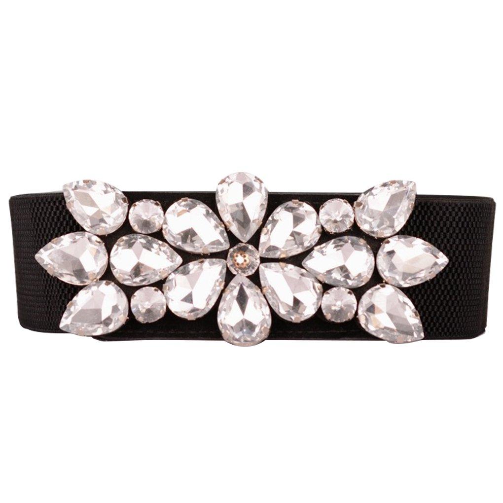 Bobury Elegant Rhinestone Women Waist Belts Shinning Crystal Girl Lady Thin Elastic Waistband Narrow Corset Belts Cummerbund