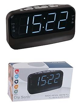d34a330481ad Reloj radio PLL Radio despertador LED Pantalla Función de repetición de  Negro (batería de funcionamiento