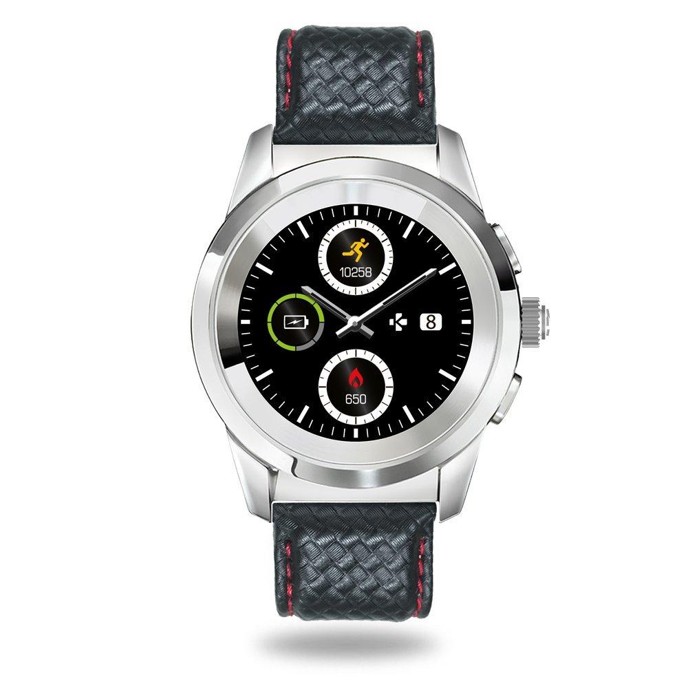 MyKronoz ZeTime Premium Reloj Inteligente híbrido 44mm con Agujas mecánicas sobre una Pantalla a Color táctil – Regular Polished Plateado/Costura roja ...