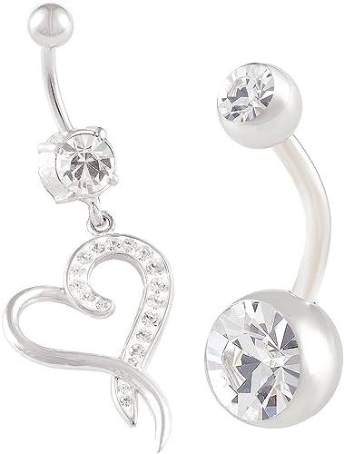 2PCs Stainless Steel Navel Ring Crystal Gem Belly Button Bar Body Piercing K