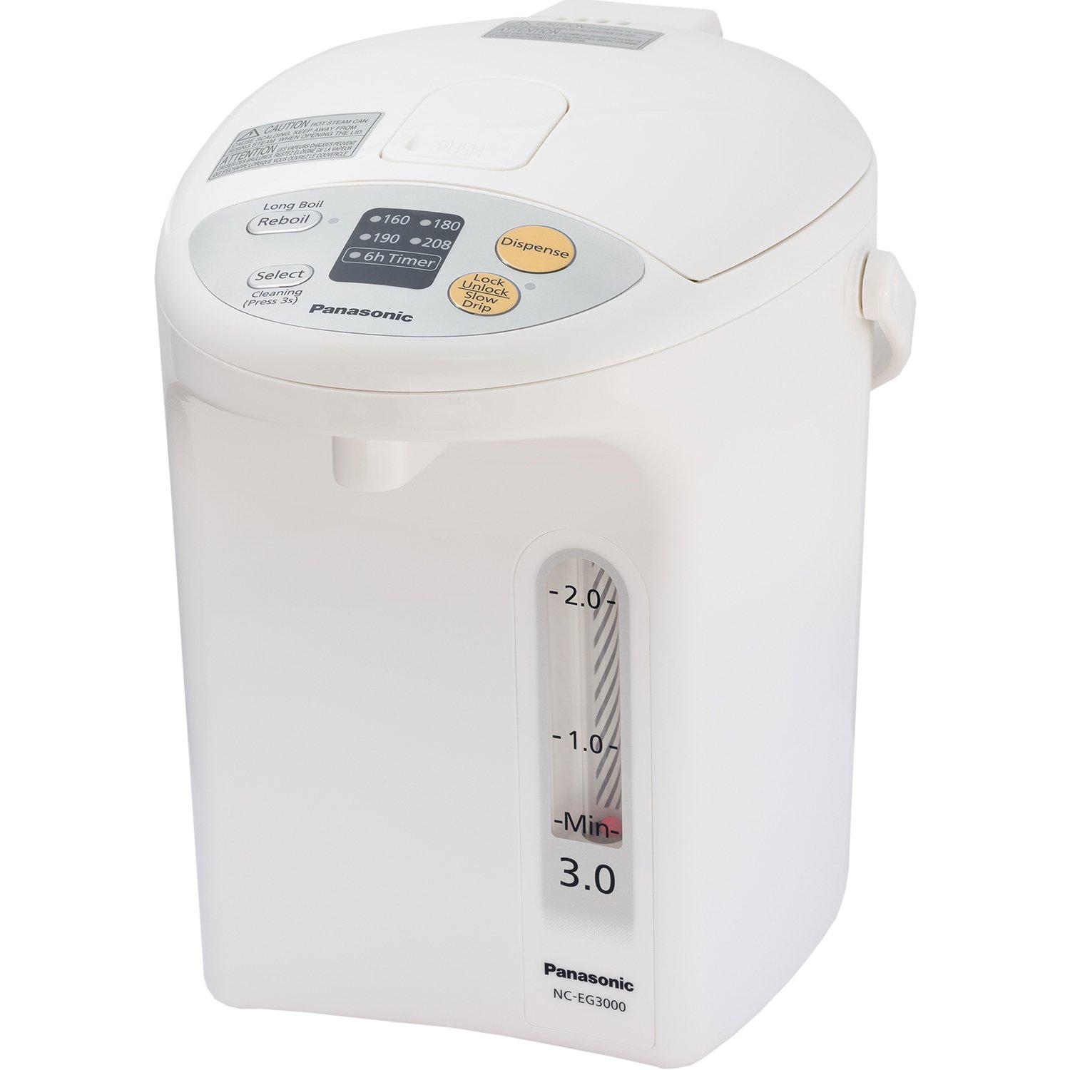 Panasonic Electric Thermo Pot Hot Water Boiler Dispenser NC-EG3000, Slow-Drip Mode for Coffee, Ideal for Tea, Hot Cocoa, Soups and Baby Food, Four Temperature Settings, 3.2 Quarts (3.0L), 700W, White