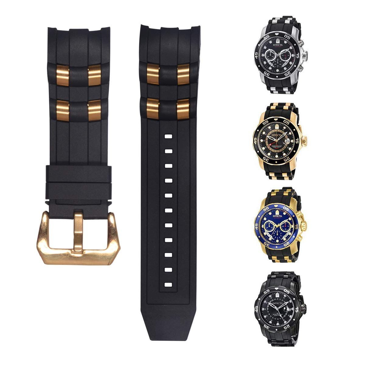 Vicdason for Invicta Pro Diver Watch Bands Replacement Strap with Bukcle Metal Inserts - Black Rubber Silicone Invicta Watch Strap by Vicdason (Image #4)