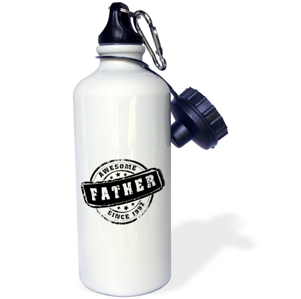 White 3dRose wb/_161628/_1Awesome Father since 1992 year of birth of first born child stamp-Worlds greatest dad-best daddy Sports Water Bottle 21 oz