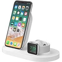 Belkin Boost Up Base de carga inalámbrica para iPhone + Apple Watch + puerto USB-A (estación dock para iPhone/cargador inalámbrico para iPhone XS, XS Max, XR, X, 8/8 Plus, Apple Watch 4, 3, 2 y 1)