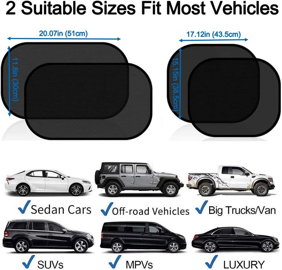 4 Pack Cling Car Window Shade for Baby 80 GSM Car Sun Shades Blocks Over 99/% of Harmful UV Rays to Protect Passengers from Heat and Keep Your Car Cool Big Ant Car Sun Shade Easy Installation