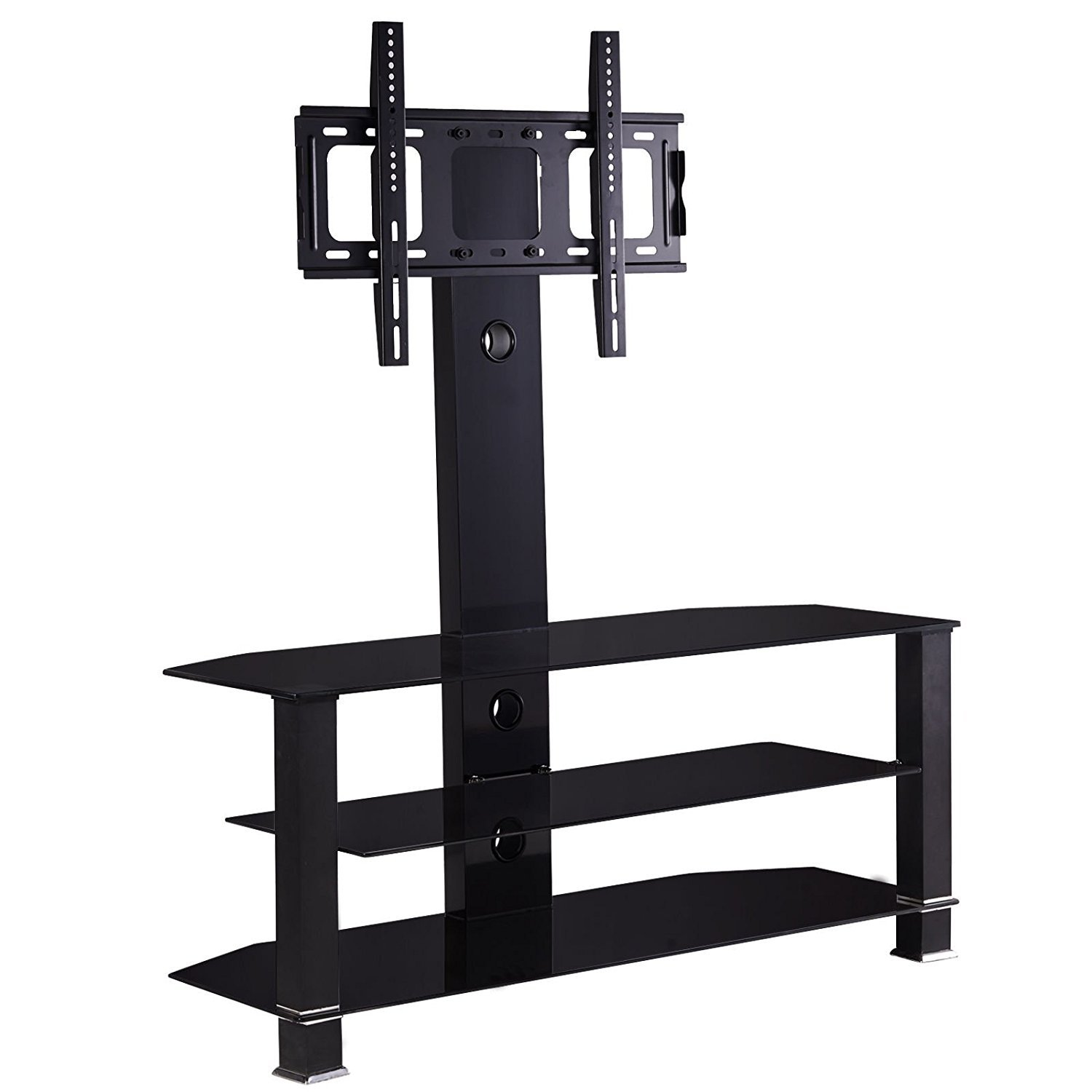 Cantilever Glass TV Stand with Bracket for 32 to 55 inches Plasma LCD TV Black Tube mecor