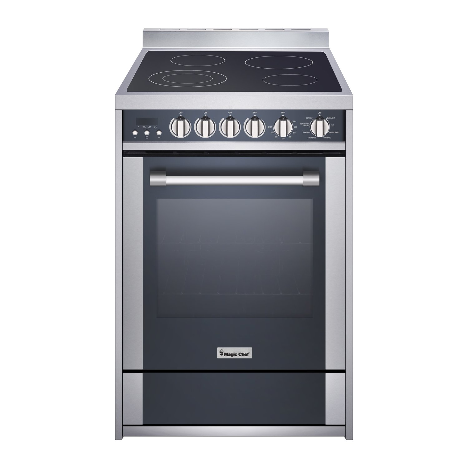 "Magic Chef Freestanding Oven MCSRE24S 24"" 2.2 cu. ft. Electric Range with Convection, Stainless Steel"