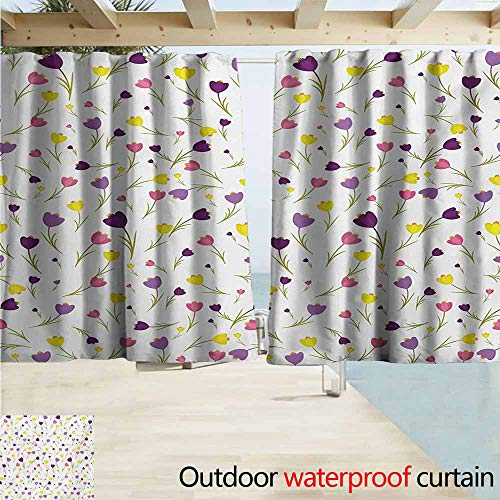 (AndyTours Darkening Curtains,Tulip Limitless Tiny Little Tulip Motifs Over Plain Backdrop Seasonal Romantic Concept,Outdoor Privacy Porch Curtains,W63x63L Inches,Purple Yellow)