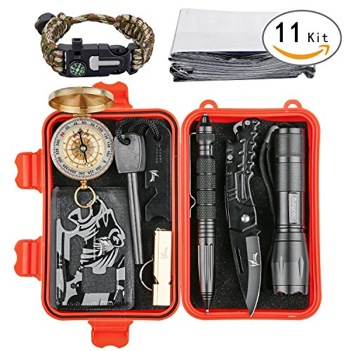 Versatile Survival Kit with Practical Tools, Portable Survival Gear Set with 18-in-1 Durable Tool Card, Flashlight, 18650 Battery, Multi-functional Bracelet for Wild Adventure (w/Orange Case)