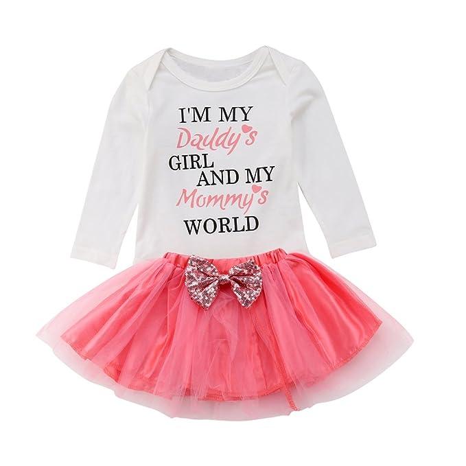 cfb0fba5d3b0 Amazon.com  OUTGLE Newborn Baby Girl Short Sleeve Romper + Pink Tutu Skirt  + Headband Clothing Set Summer Outfits  Clothing