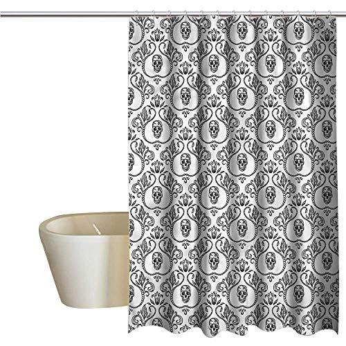 Denruny Shower Curtains Black Panther Skull,Vintage Ornamental Skeleton,W36 x L72,Shower Curtain for Men