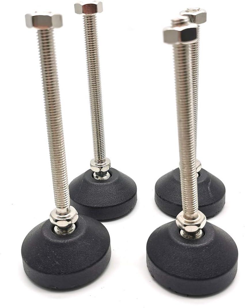"Mimhooy Leveling Feet Adjustable & Swivel Furniture Leg Glides Screw Leg Feet Levelers M8 Thread Size, 3.9"" Thread Length (4 Pack)"