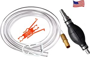 Plumber's Siphon Pro - Gas, Oil, Water - Up to 3.5 Gl. Per Min. ONLY Siphon With Multi-size Tip Designed to Fit Any Hose.Comes with 9 ft. Hose. Brass Tip Weight or Extender – See Video in Pictures