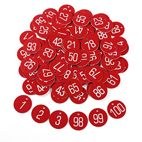 Hamimelon Laser Engraved Numbered Tags w Key Ring Acrylic Id Tags for Organizing 50-100 Pieces Red 1-100