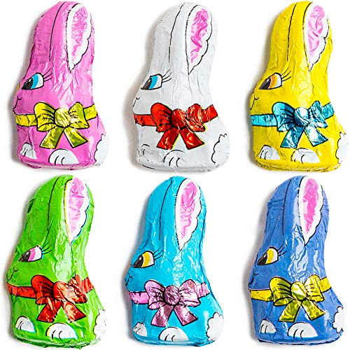 Madelaine Solid Premium Milk Chocolate Mini Bunnies Wrapped In Colorful Tuxedos (1/2 LB)