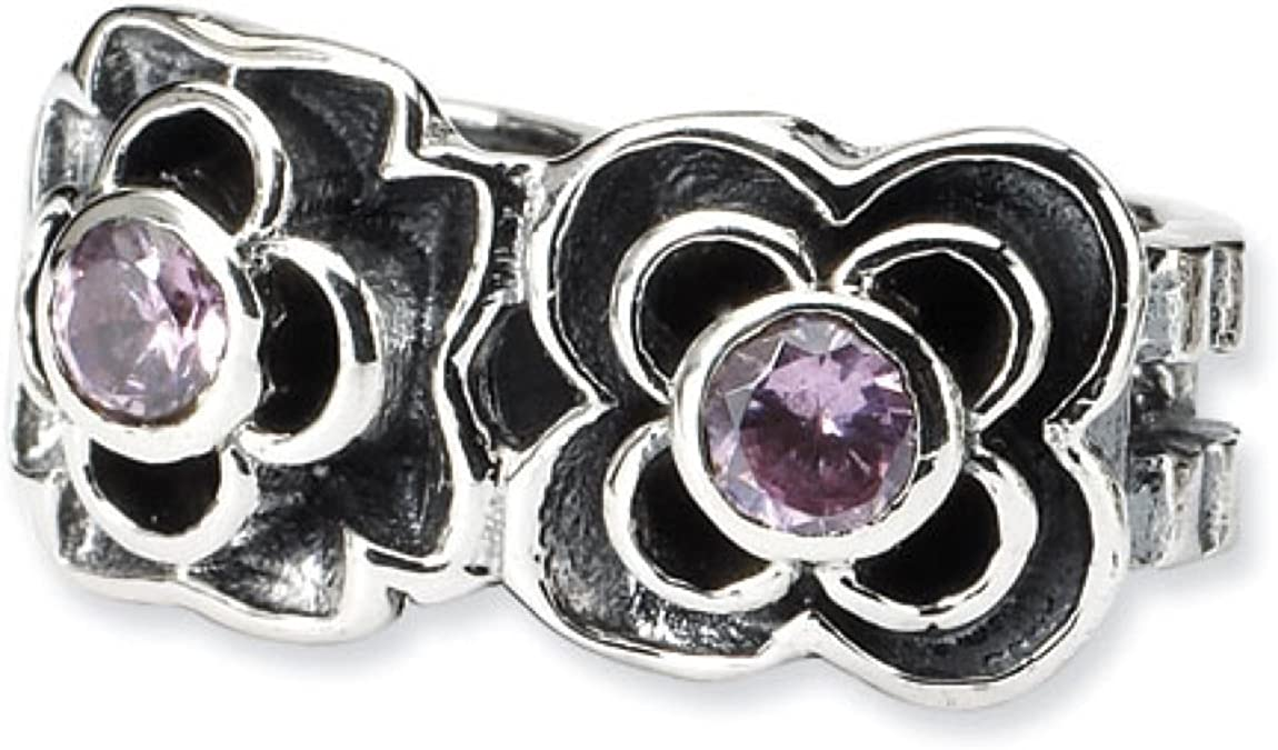 Sterling Silver Reflections Pink Synthetic CZ Connector Bead