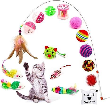 Amasawa 16 Piezas Juguetes para Gatos, Conjunto de Juguete de Gato ...
