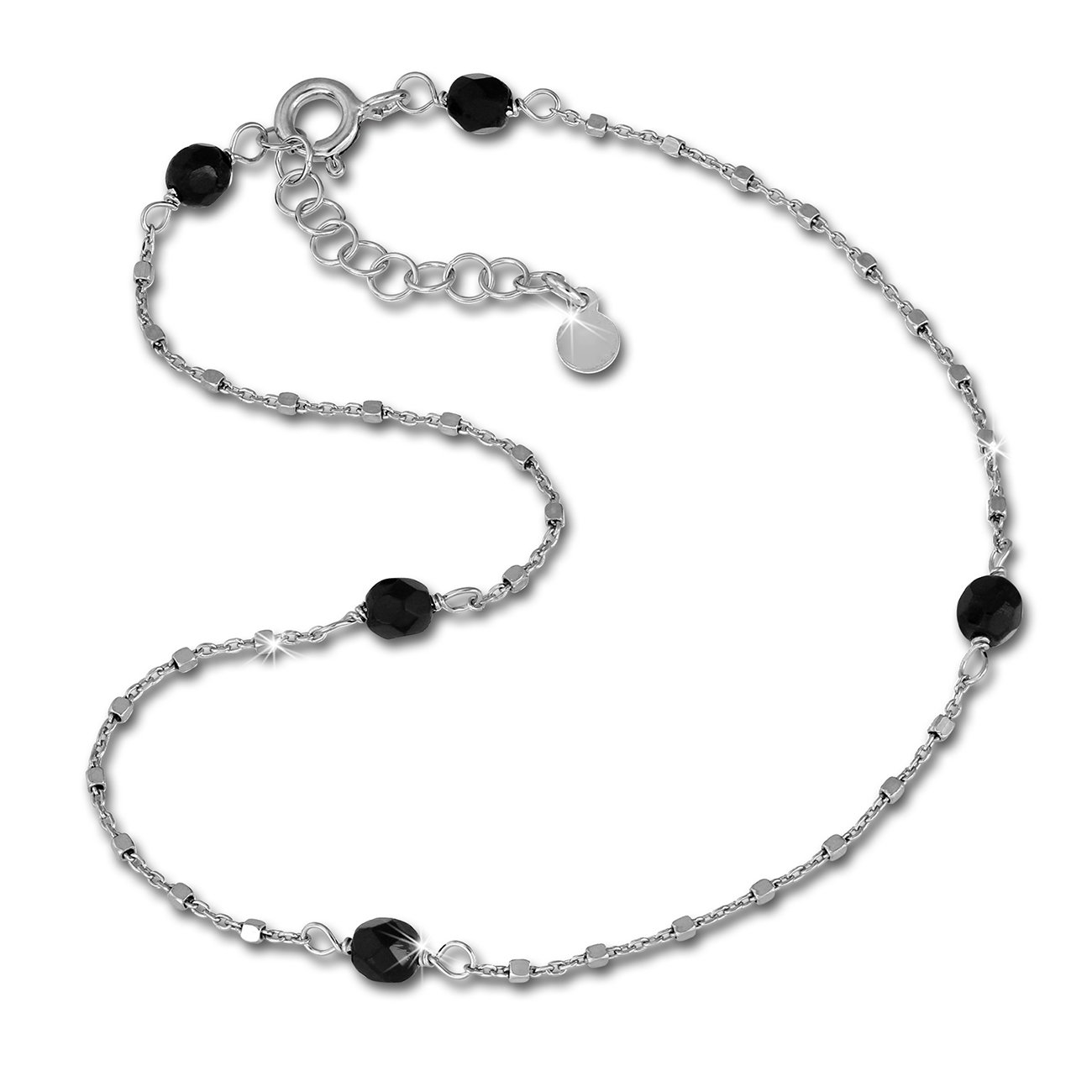 /Black Beads/ /Anklet 925/Sterling Silver Jewelry Foot Chain sdf2234j SilberDream Anklet/ /27/cm/