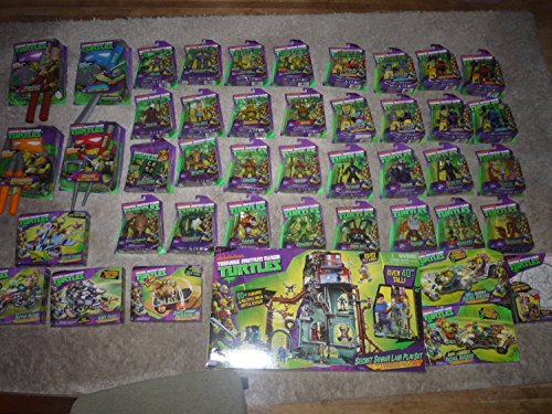 COMPLETE SET OF 48 TEENAGE MUTANT NINJA TURTLES ACTION FIGURES & VEHICLES & DRESS UP SETS & LAIR & MUCH MORE- 2013- VERY RARE AND HARD TO COMPLETE!!!