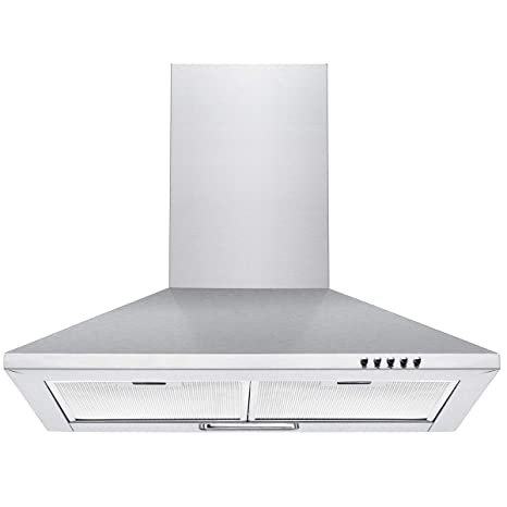 Nyka-60 Stainless Steel Pyramid Range 3 Speed Push Button Control Chimney Hood with Baffle Filters, 60 cm (Silver)