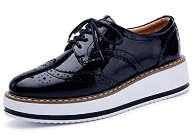 DADAWEN Women's Platform Lace-Up Wingtips Square Toe Oxfords Shoe Black US  Size 5.5/