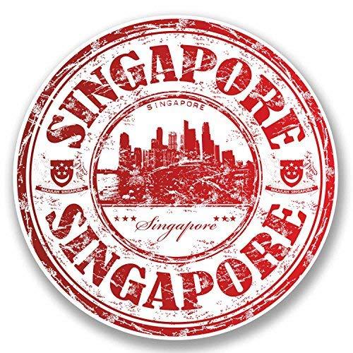 hiusan 2 x Singapore Vinyl Stickers Decals Travel Luggage Tag Lables Car Window Laptop Ipad Envenlop Stickers (10cm W x 10cm H) -