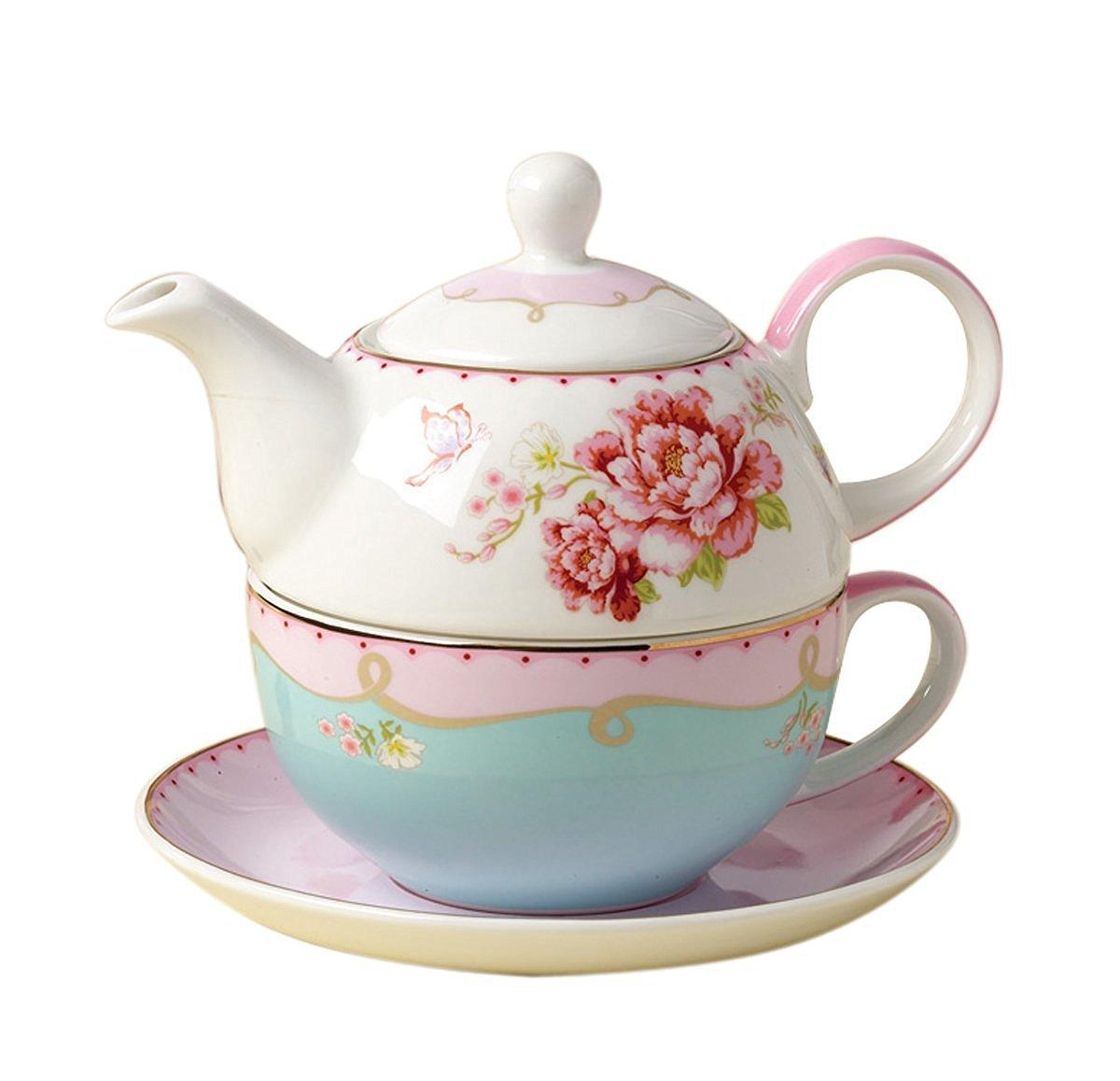 Jusalpha Fine Bone China Teapot for One, Rose Teapot and Saucer Set- Tea Cup with Saucer Set, Pink Roses (Teapot set 02)